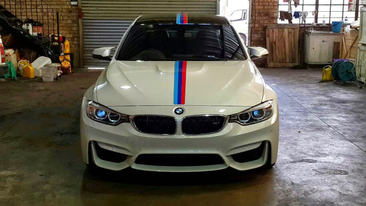 White bmw m3 gets centre motorsport stripe in south africa for South motors bmw mini