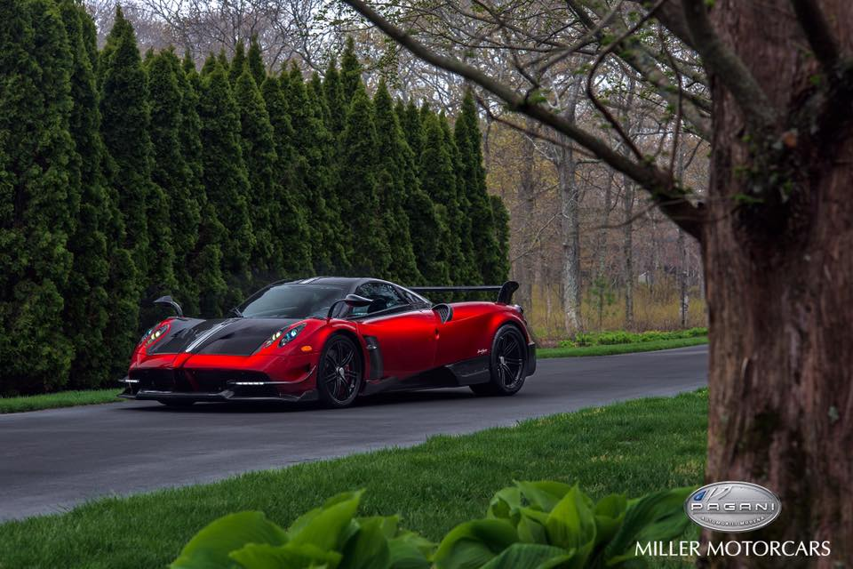 red pagani huayra bc delivered to benny caiola's family
