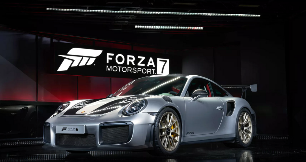 new porsche 911 gt2 rs revealed with forza 7 at e3 2017. Black Bedroom Furniture Sets. Home Design Ideas
