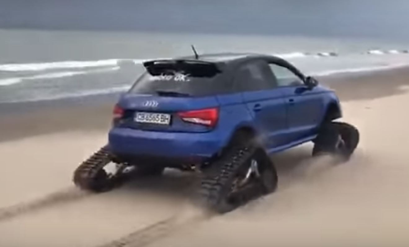 audi s1 fitted with tracks shredding it up on the beach. Black Bedroom Furniture Sets. Home Design Ideas