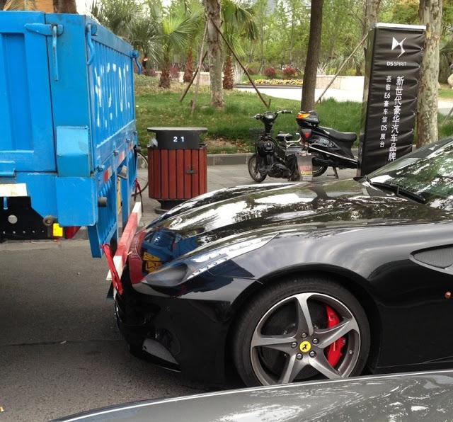 Ferrari FF 'Crashes' Into Truck In China... No Insurance