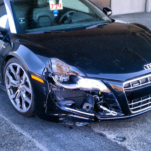 Audi V10 R8 Crashed Into Truck While Showing Off