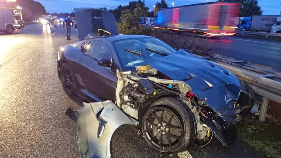 Ferrari 599 Gto Wrecked On Wet Autobahn