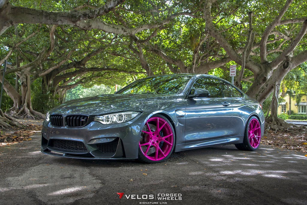 Velos Designwerks Bmw M4 With Hot Pink Wheels For Breast
