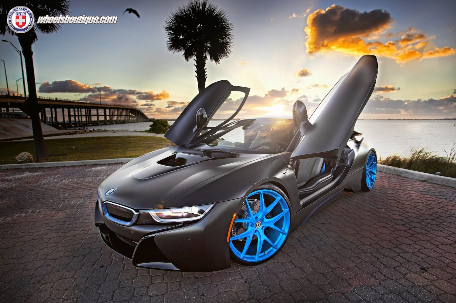 Matte Black Bmw I8 Looks Fantastic On Blue Hre Wheels