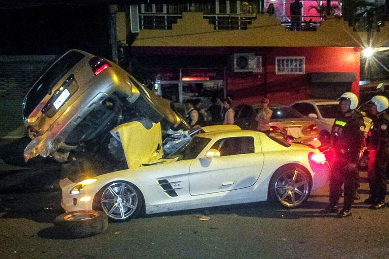 Corvette For Sale >> Mercedes-Benz SLS AMG Slams Into And Under SUV In Cambodia