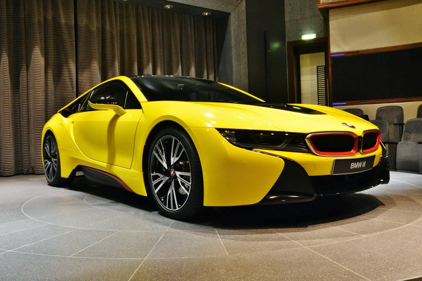 Bmw I8 Wrapped In Bright Yellow With Red Accents