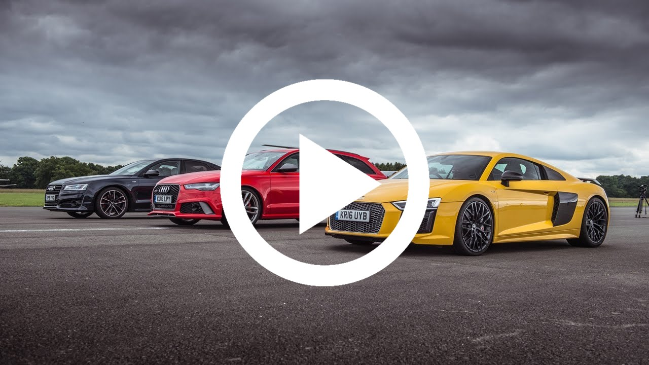 Audi R8 V10 Plus vs RS6 vs S8 Drag Race