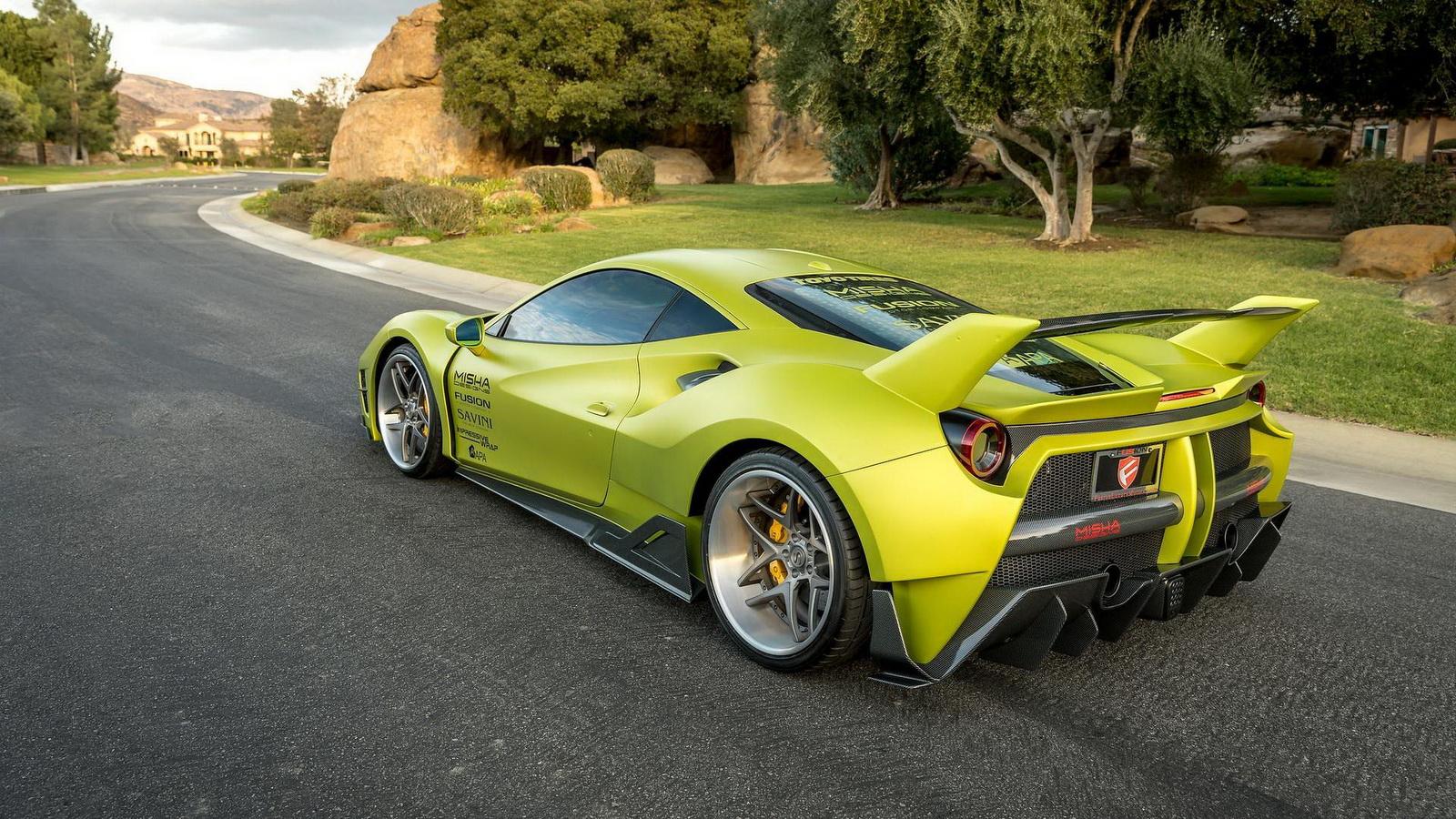 Satin Lime Green Misha Designs Ferrari 488 Is Not Subtle