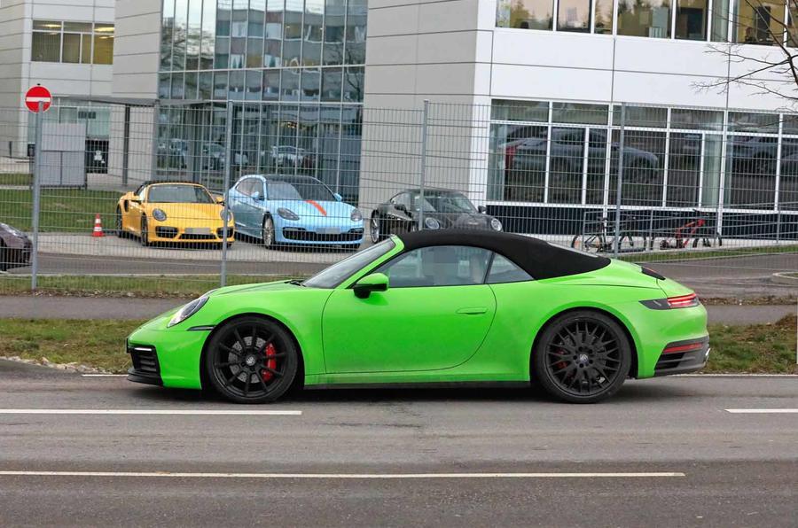 911 Carrera Gts >> Bright Green Porsche 911 (992) Cabriolet Seen Testing